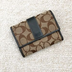 Brown & beige canvas Coach trifold wallet